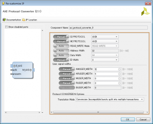 AXI Protocol Converterの設定