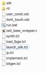 プロジェクトのファイル