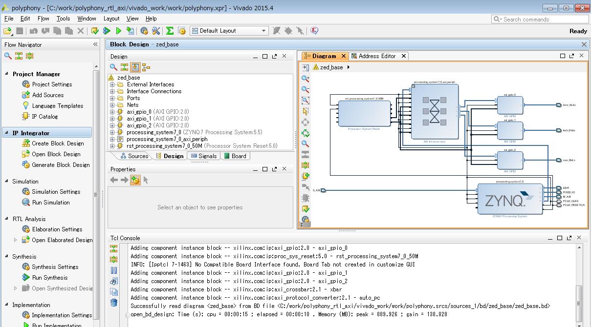 Vivado GUIでのプロジェクト表示